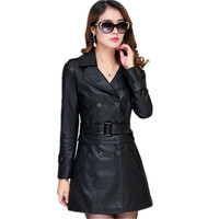 2017 New Spring Autumn Double Breasted Fashion Pu Leather Medium Long Trench Coat Plus Size Slim