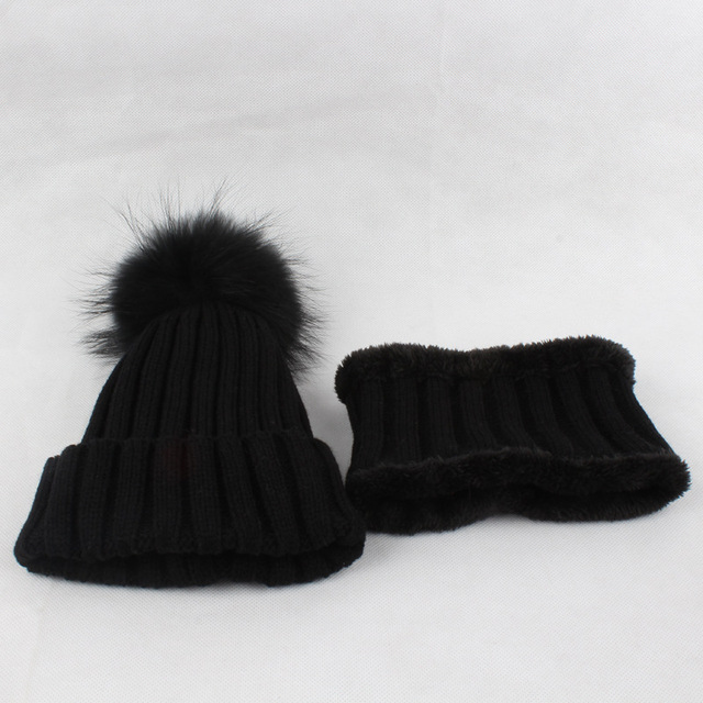 Lakysilk New Arrival Fashion Winter Beanies Hat for Girls   Boys Black  Real Fur Pompom Knitted Children Hats Set High Quality 8847aa36781