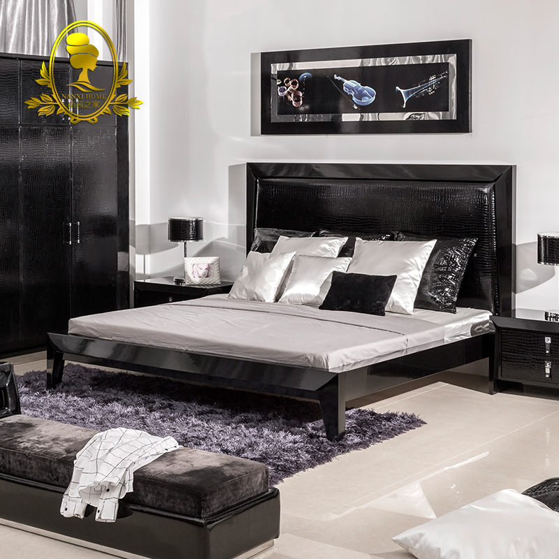 modern bedroom furniture black color gross painting bed ,nightstand ...