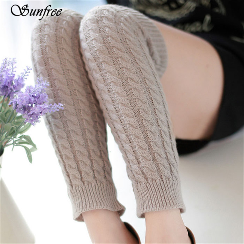 Sunfree 2016 New Design Hot Sale Women Winter Warm Leg Warmers Knitted Crochet Long Socks Brand New and High Quality Nov 8 ...
