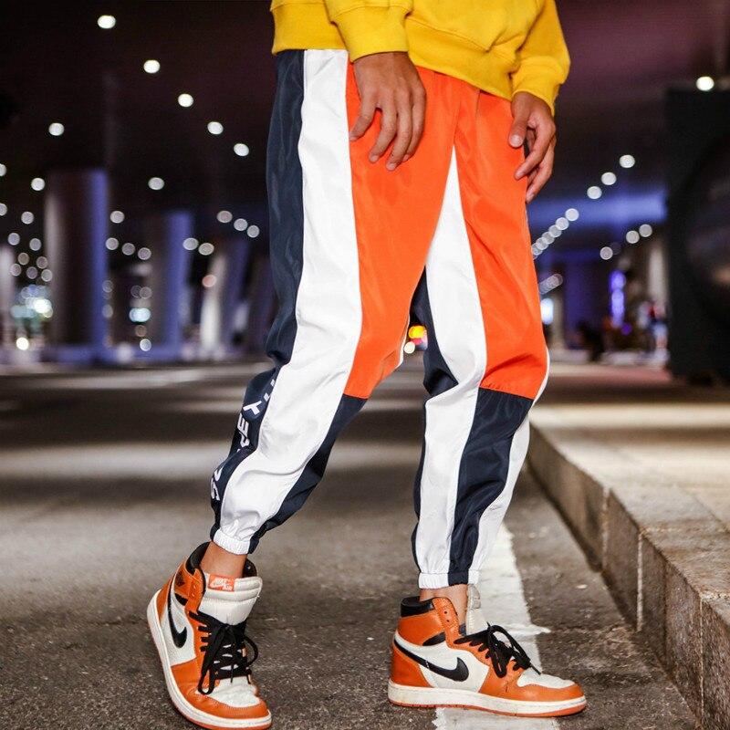 Men Hip Hop Color Block Patchwork Pants Panelled Casual Joggers Trousers Male Windbreaker Joggers Sweatpants High Quality