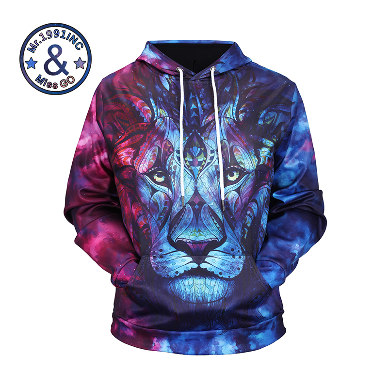New Arrival Famous Brand Men Hoodies 3D Animal Design Printing Full Sleeve 94.4% Polyester, 5.6% Spandex Fashion Style