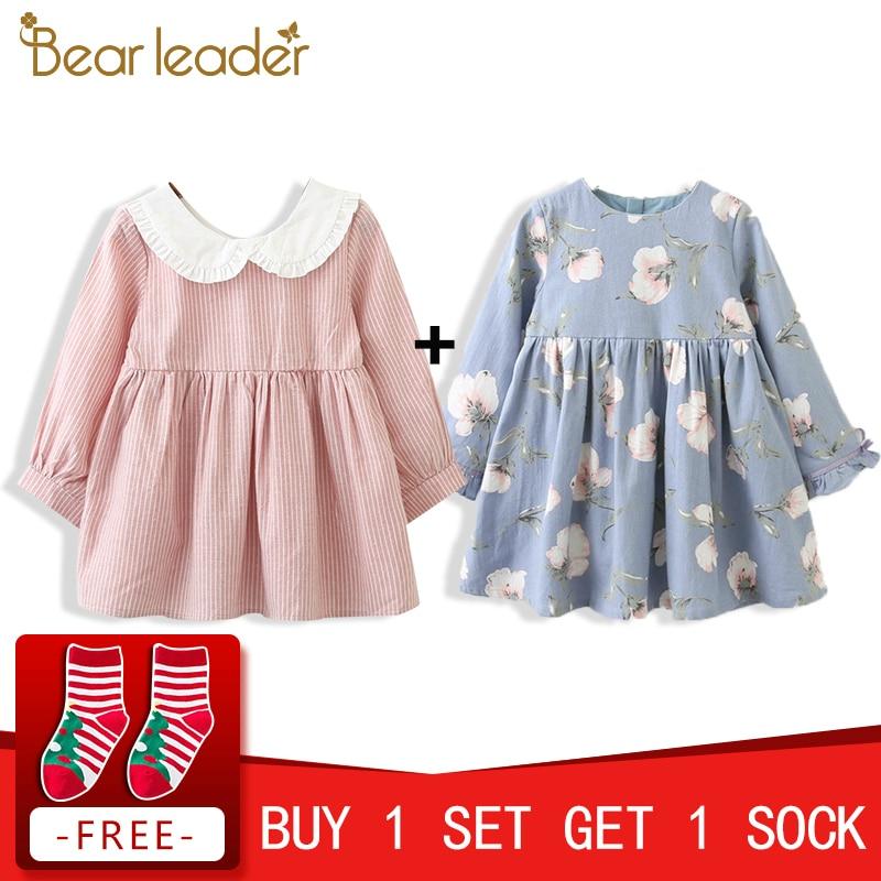 все цены на Bear Leader Girls Dress New Brand Spring Back Bow Dress for Girl Striped Robe Fille Ruffles Full Petal Sleeve Kids Clothing 3-7Y