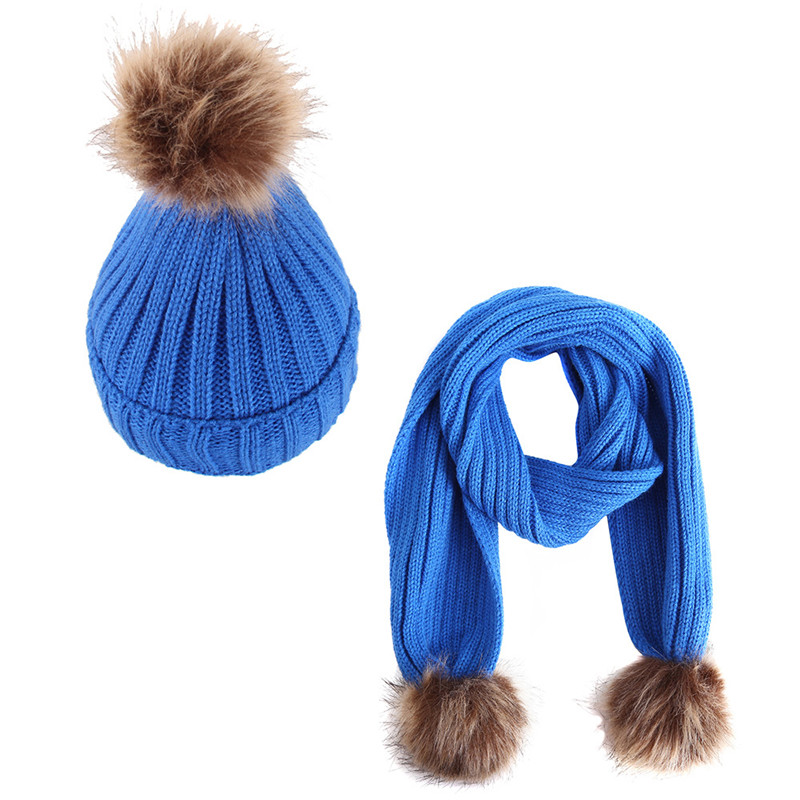 Baby Vertical Hat Scarf Kids Warm Winter Caps Thick Plus Velvet Hat And Scarf Set For Girls Boys Fur Pompom Ball Knitted Beanie