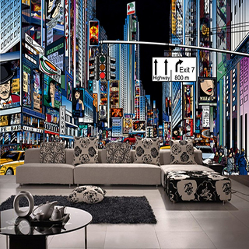 New York Bedroom Wallpaper Uk Bedroom Paint Ideas Tumblr Bedroom Color Ideas Pictures Mezzanine Bedroom Design Ideas: Custom 3d Mural New York Street Times Square Wallpaper