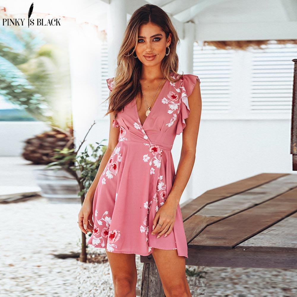 PinkyIsBlack V cuello ruffles imprimir vestido de verano mujeres sin ...