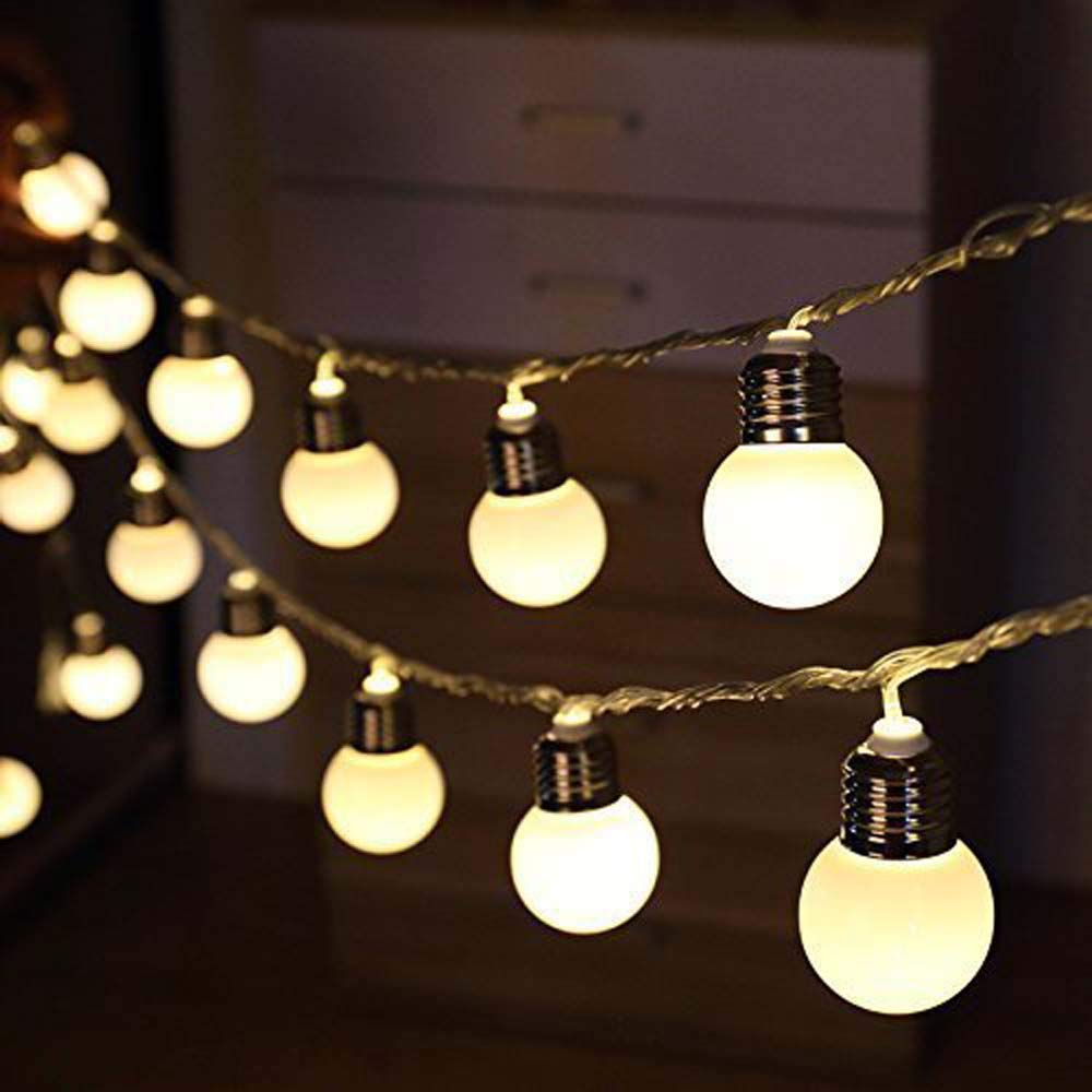 Battery Operated 10/20/40 LED G50 Globe Bulb Festoon String Lights Outdoor Waterproof Christmas Wedding Garden String Garland