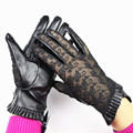 Leather Gloves Women Fashion Embroidered Lace Sheepskin Touch screen Gloves None Inner Lace Folded Style Outdoor Driving Gloves