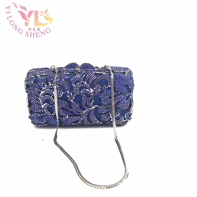 Short Women Wallet Purse Clutch Crystal Floral Flower Evening Metal Clutch bag Four Colors Available IN FREE SHIPMENT YLS-F34 fuzzy metal clutch wallet
