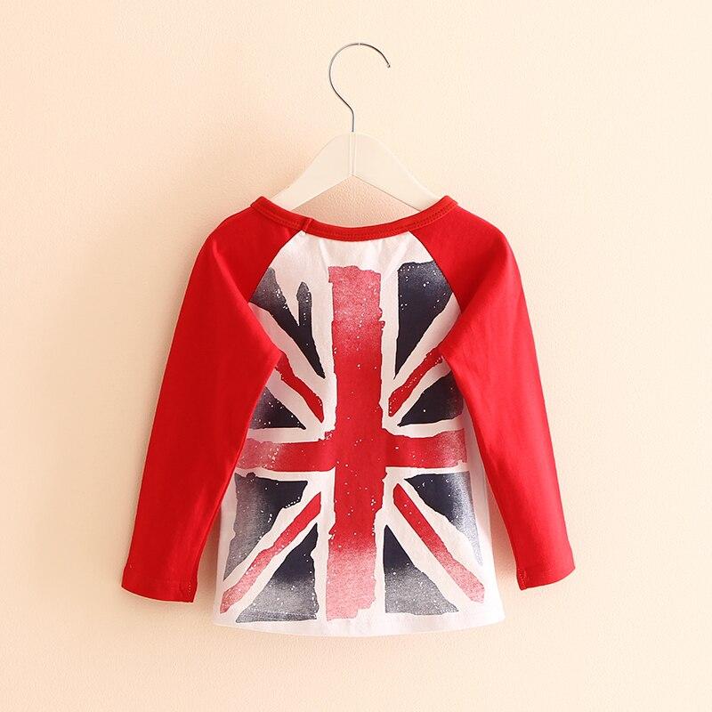 ab848f0eb ᐂPrimavera Outono Bandeira Britânica Básica Meninos Meninas T ...