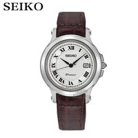 Seiko Watches Quartz Silver Dial Stainless Steel Case With Brown Leather Strap Women Watch SXDE01P2