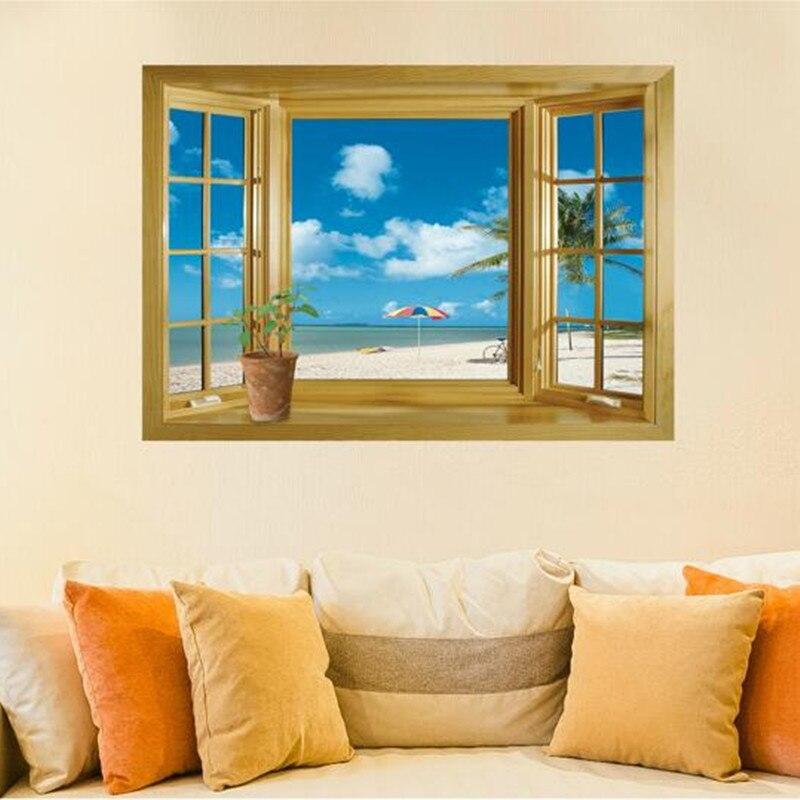 Beach Cloud Pattern Window Living Room Art Decal Wall Sticker
