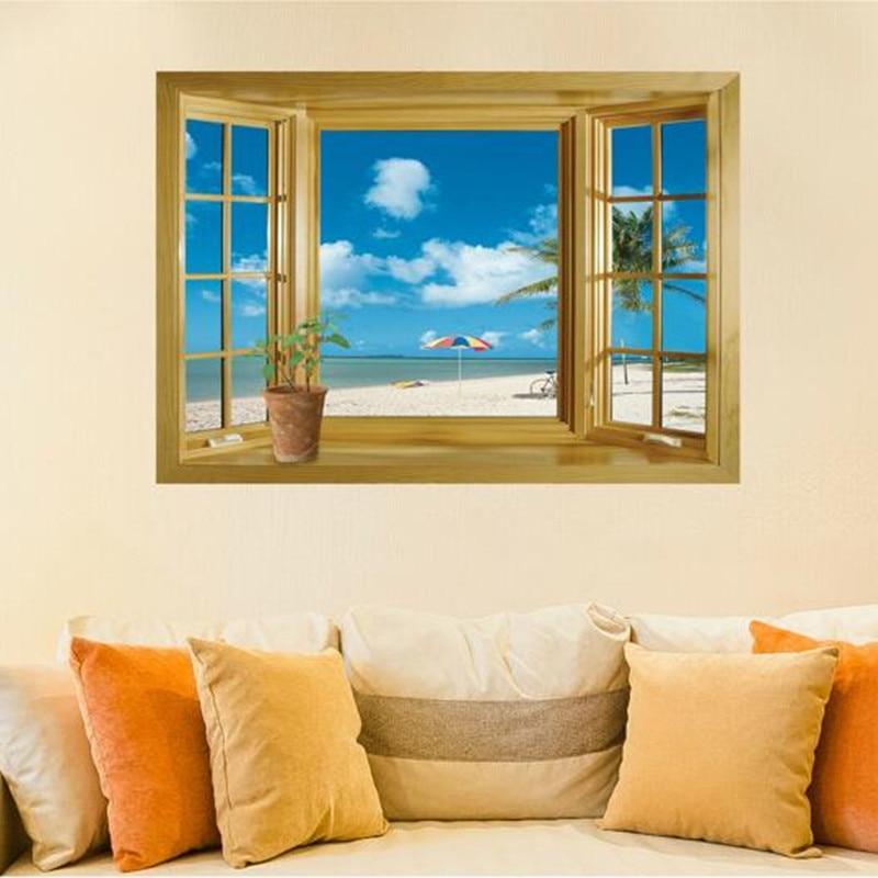 3d Window Scenery Beautiful Sea Beach View Wall Sticker