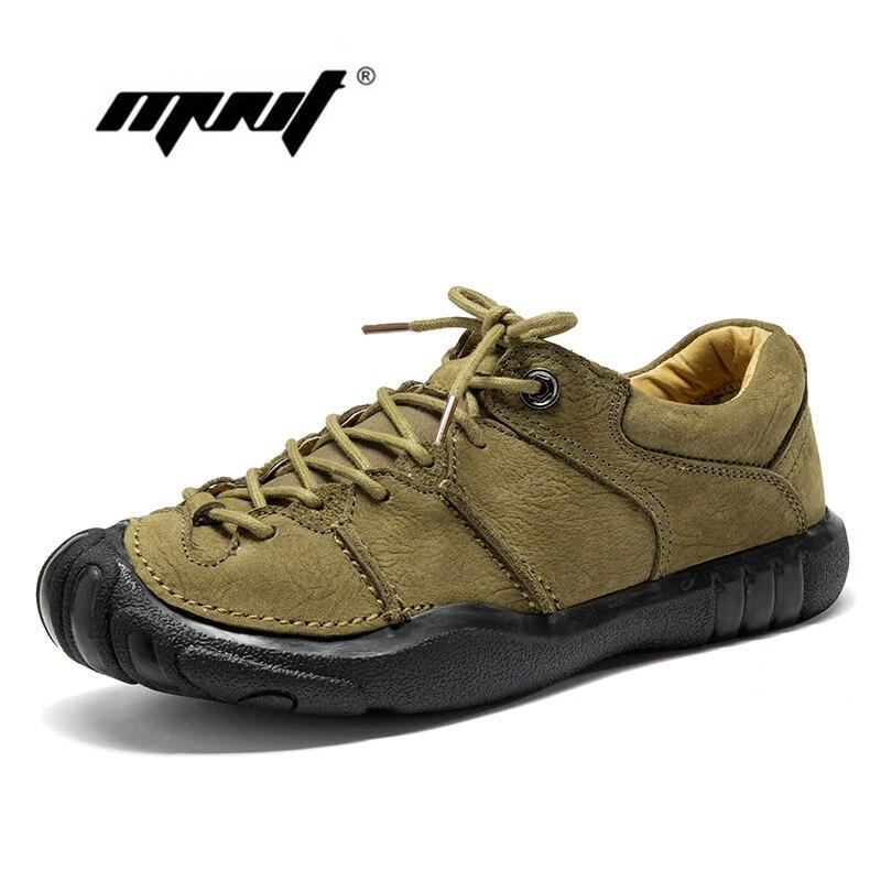 Natural Leather Vintage Men Shoes Lace Up Leather Casual Shoes Flats High Quality Platform Non slip