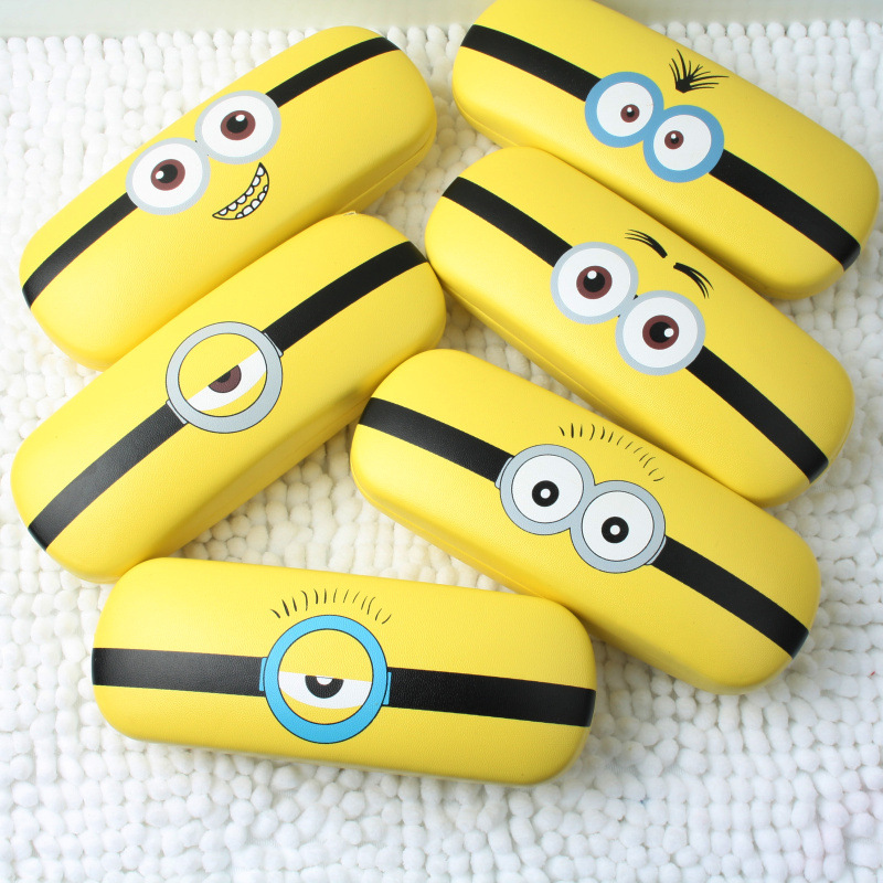 Cute Minions Eyeglass Cases For Women Cartoon Leather Glasses Case Hard Glasses Box Spectacles Case Eyewear Accessories Gift