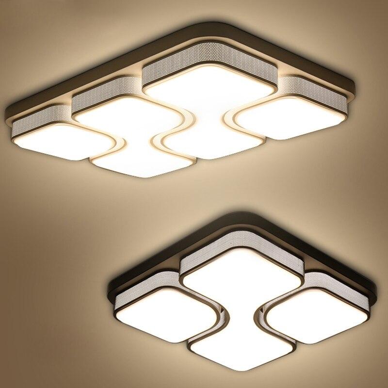 Moderne led lustres pour salon chambre chambre AC85-265V carré blanc/noir Intérieur Plafond lustre Lampe Appareils