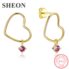 цена SHEON Authentic 925 Sterling Silver Gold Color Heart-Shape Stud Earrings for Women Sterling Silver Jewelry Mother's Day Gift
