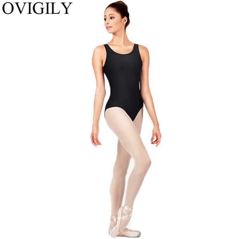 OVIGILY Черная майка трико для гимнастики для женщин спандекс лайкра боди без рукавов балетная танцевальная одежда совок шеи Короткие боди