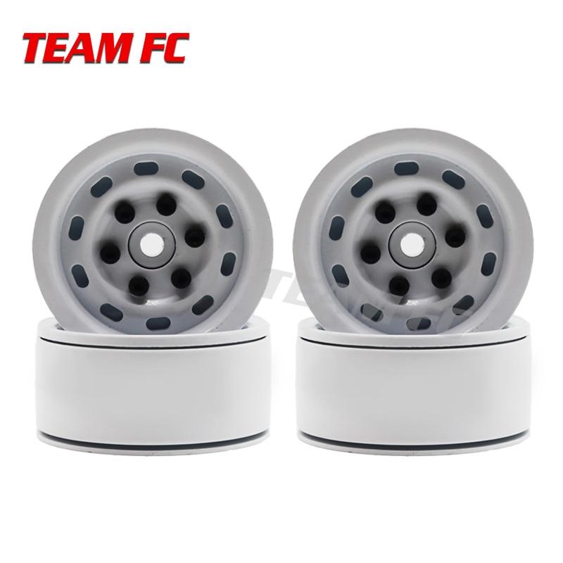 4PCS RC Crawler 1:10 White Metal Wheel Rim 1.9 Inch BEADLOCK for 1/10 Axial SCX10 TAMIYA CC01 D90 D110 Traxxas TRX-4 F114 mxfans rc 1 10 2 2 crawler car inflatable tires black alloy beadlock pack of 4