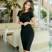 Plus Size Solid Bodycon Bandage Dress Summer Women White Gray Black Short Sleeves Knee length Casual Runway Office Pencil Dress