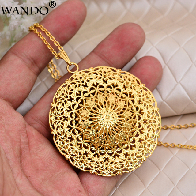 WANDO Dubai Ethiopia Africa India Gold Sun God Good Luck Islam Pendant Necklace Polyester Rope Chain Necklace Jewelry for Women