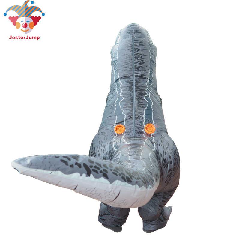 Косплей фантазия талисман t rex Велоцираптор костюм для взрослых мужчин Хэллоуин надувной Раптор динозавр T REX костюм для детей и женщин