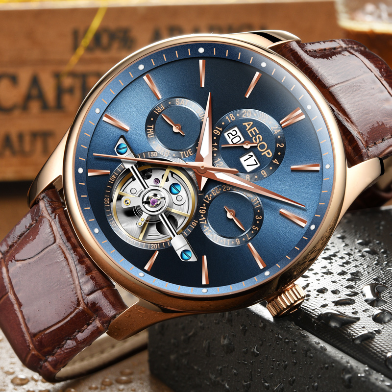 Aesop Mens Watches Automatic Mechanical Watch Perpetual Calendar Waterproof Luminous Date Watch Men Boy Wristwatches 2018 New цена