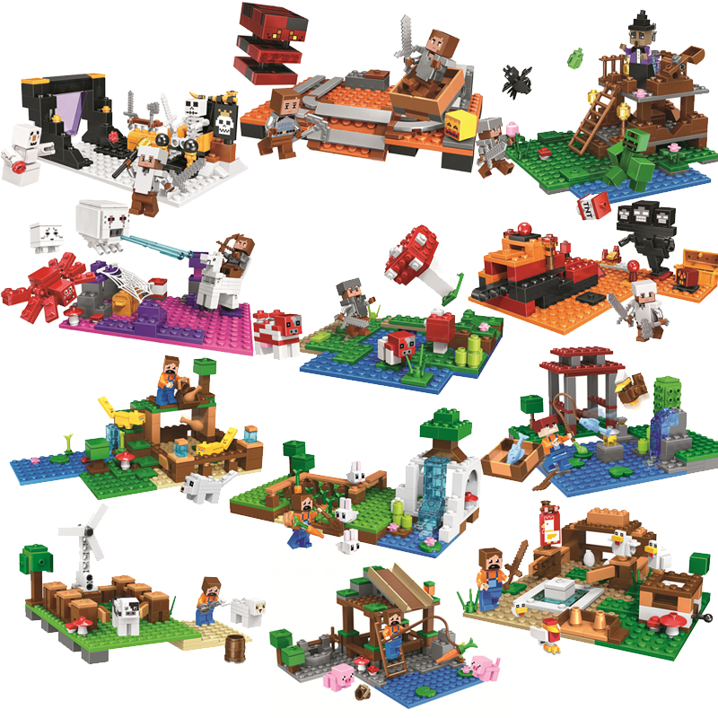 Christmas Minecraft World.My World Zombie Minecraft Legoingly Building Blocks Bricks Educational Diy Toys For Children Boys Girls Christmas Gift Brinquedo