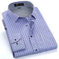 Summer 2017 Men's Long Sleeve Small Plaid Pattern Dress Shirt Fine Thin Cotton Blend Fabric Regular Fit Business Formal Shirts