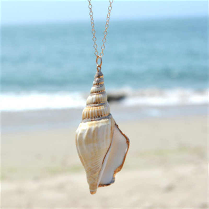New Fashion Hawaii Style Beach Sea Ocean Winds Chain Necklace Conch Shell Pendant Collar Necklace For Women Choker Jewelry Gift