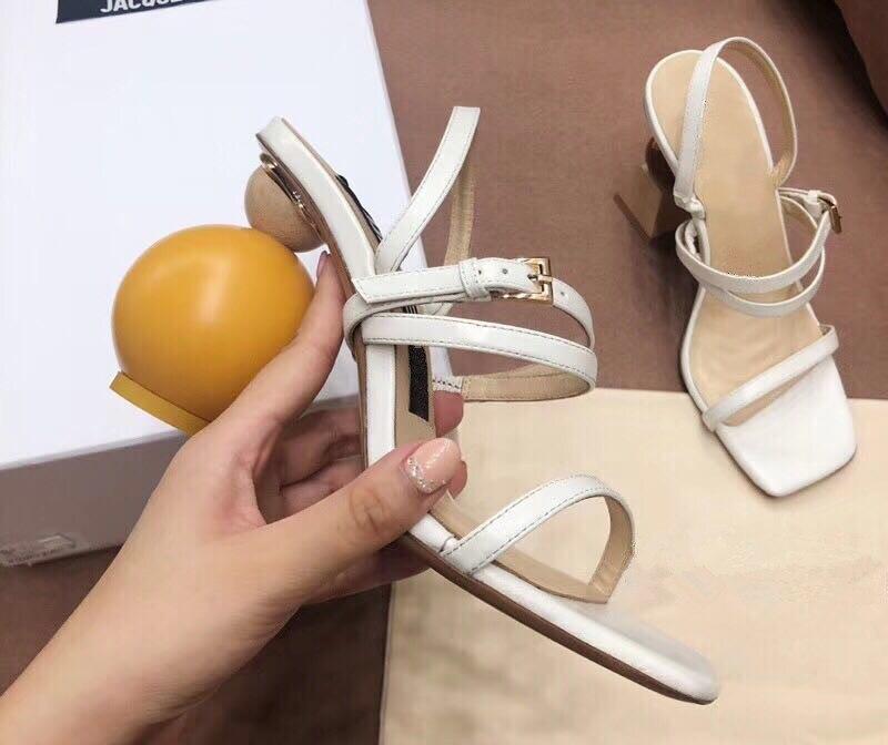 Асимметричная геометрические блоки Сандалии на каблуке Для женщин пикантные узкая полоса на высоком каблуке с открытым носком гладиаторы ... - 6