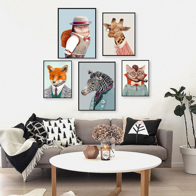 Nordic Wall Art Foto Abstract Wild Dier Show Kunst Poster Cartoon ...