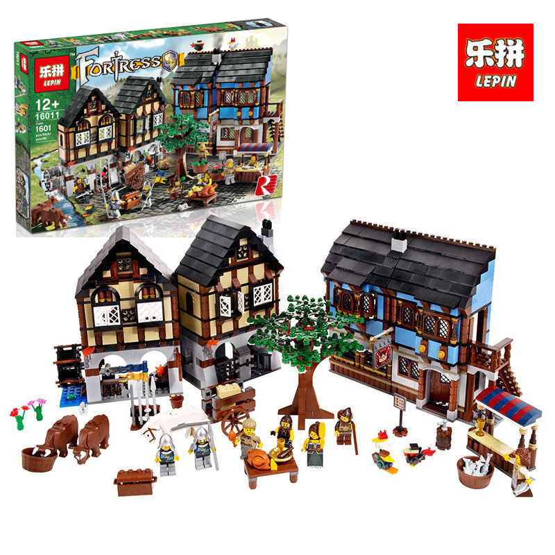 LEPIN 16011 New 1601Pcs Medieval Market Village Model Building Kits Blocks Bricks Children Compatible With legoINGlys 10193 new lepin 16009 1151pcs queen anne s revenge pirates of the caribbean building blocks set compatible legoed with 4195 children