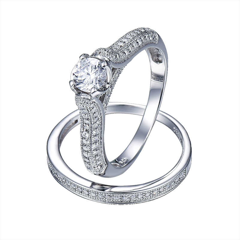 บิ๊กขาย2016 100%เงินแท้925แหวนแต่งงานเครื่องประดับแท้จริงแหวนเงินแข็งชุด1.25Ctอัญมณีสำหรับผู้หญิงที่มีกล่อง