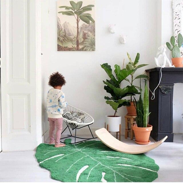 INS 100% хлопок форма зеленого листа хлопок одеяло Nordic украшение для детской дверной коврик подставки для фотографий коврик с рисунком листа