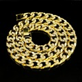 Women Men  Gold Plated 30inch Miami Cuban Necklaces Bling Charm Rhinestone Jewelry Gifts Simulated Diamond Hip Hop Chains