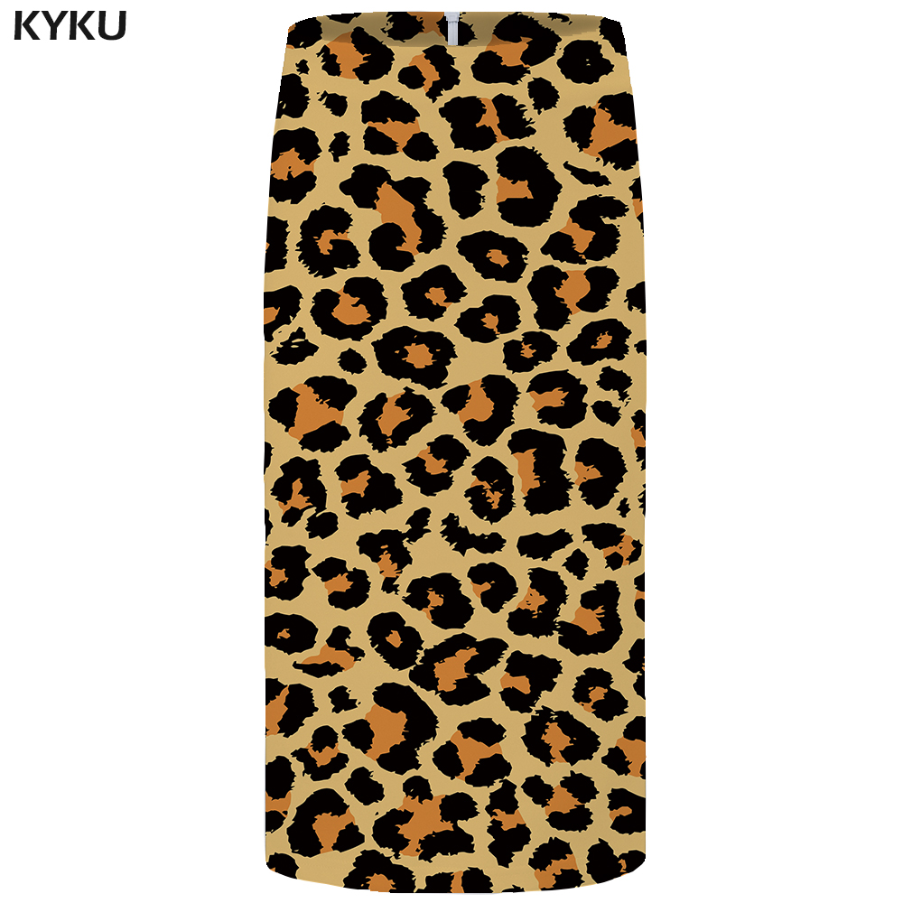 Kyku Brand Leopard Print Skirts Women Yellow Ink Office Skirts Gothic Funny 3d Print Skirt Casual Sexy Ladies Skirts Womens New