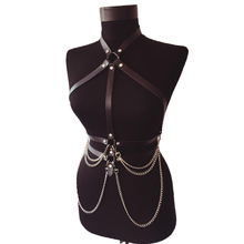Women Punk Chain Leather Belt With Collar Neck Harness And Waist Bondage Double Layer Female Body Top Quality Handcraft