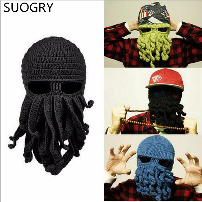 Suogry Handmade Funny Tentacle Octopus Hat Crochet Cthulhu Beard
