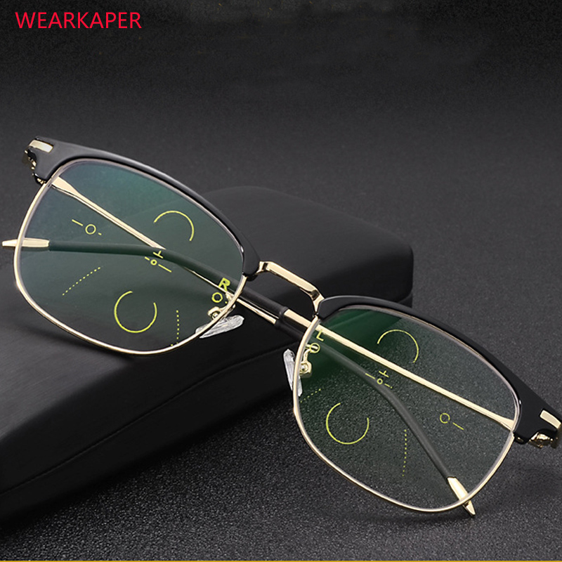 WEARKAPER Transition Photochromic Multi-focal Progressive Reading Glasses High Quality Presbyopia Hyperopia Bifocal Eyeglasses