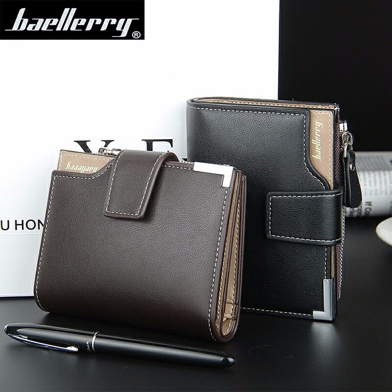 Leather Multifunction Men Wallets Zipper Pocket Trifold Purse Card Holder Hasp Wallet Zipper Purse brown one size 2