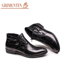 GRIMENTIN fashion Italian design mens shoes ankle boots genuine cow leather casual shoes with crocodle skin printing shoes men