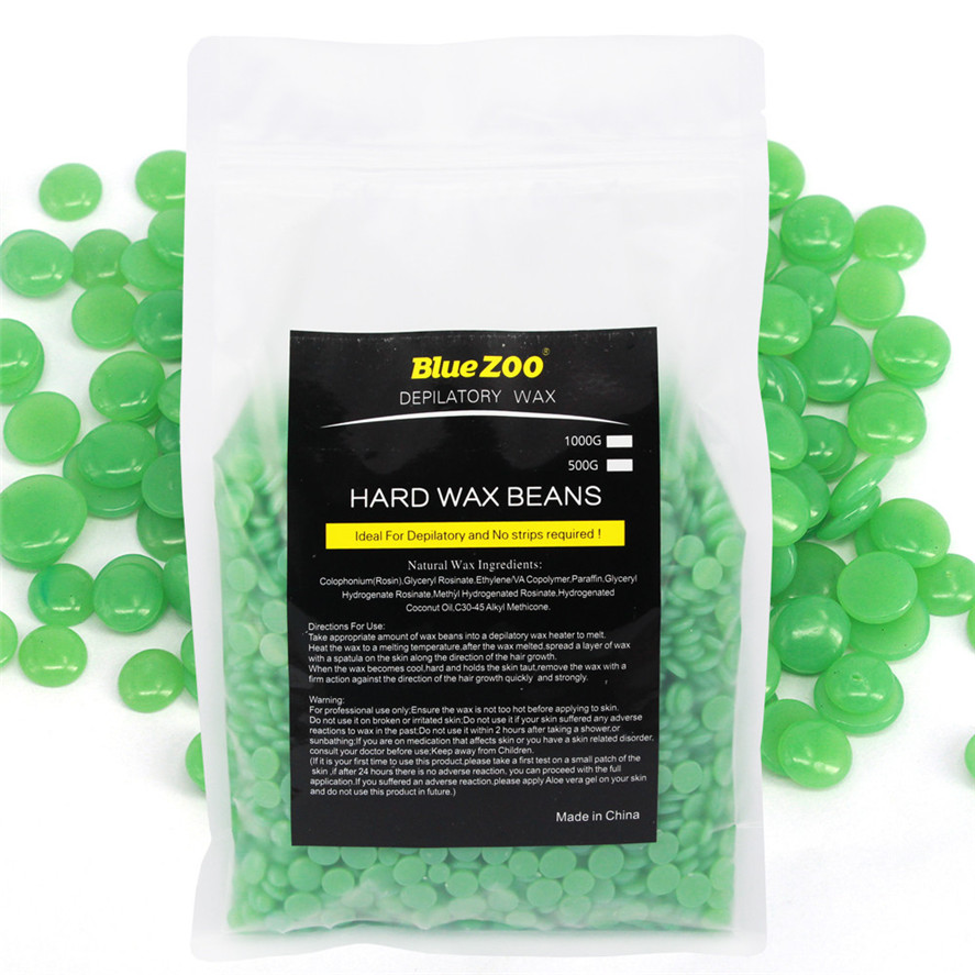 New Wax for Depilation 1000g Green Tea No Strip Depilatory Hot Film Hard Wax Pellet Waxing Bikini Hair Removal Bean Dropshipping 250g hair removal cream epilator 10 flavour no strip depilatory hot film hard wax pellet waxing bikini hair removal bean