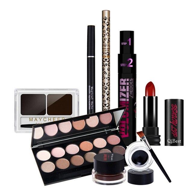 Qibest Makup Tool Kit 7 PCS Must Have Cosmetics Including Lipstick Mascara Power Eyeshadow With Eyelash Brush Makeup Set Gift