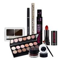 Qibest Makup Tool Kit 7 STÜCKE Müssen Kosmetik Einschließlich Lippenstift Mascara Power Lidschatten Mit Wimpern Pinsel Make-Up Set Geschenk