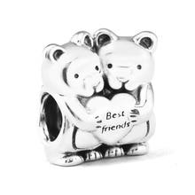 Se adapta a pandora Pulseras Mejores Amigos Encanto 925 Sterling Silver beads panda Encantos DIY que hace joyería Fina