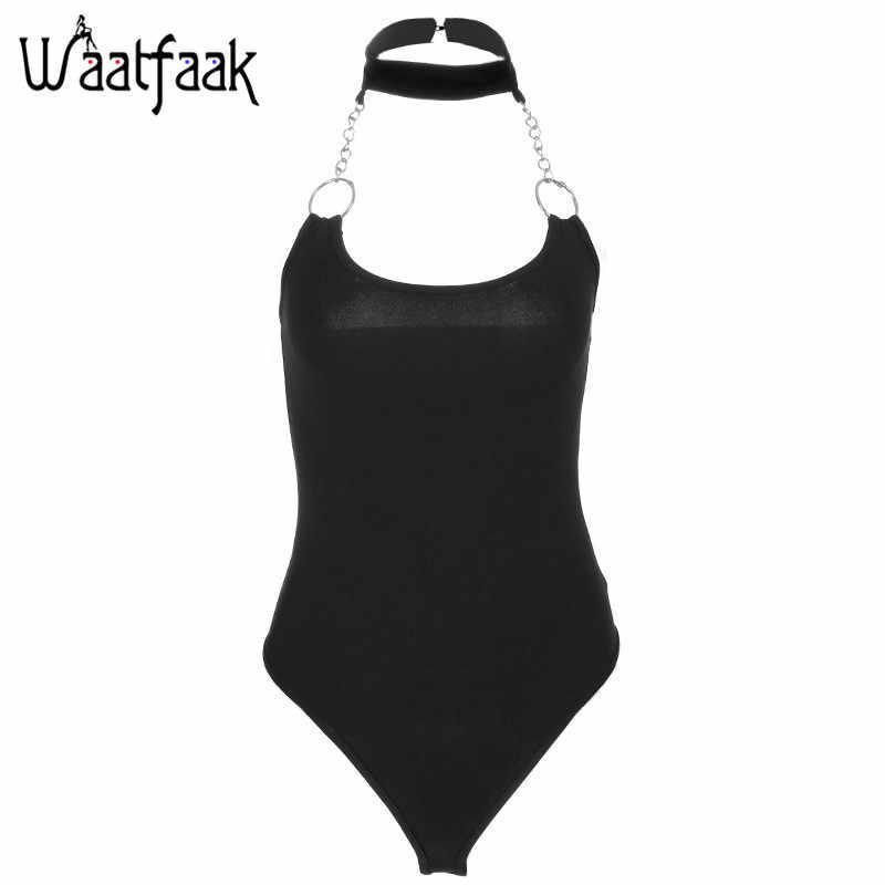 Waatfaak Halter monos mujer elegante verano sin mangas sin espalda cadena anillo sólido negro Sexy Bodycon Romper 2018 Delgado