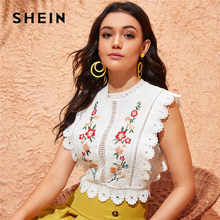 SHEIN Mock Hals Guipure Kant Trim Borduurwerk Witte Blouse Womens Tops en Blouses Boho Mouwloze Slim Fit Zomer Crop Top(China)