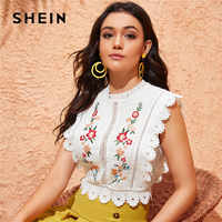 SHEIN Mock Neck Guipure Lace Trim Embroidery White Blouse Womens Tops and Blouses Boho Sleeveless Slim Fit Summer Crop Top