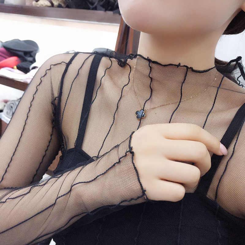 Sexy Ster Mesh Transparante Blouses Tops Kleding Ongevoerd Kledingstuk Lange Mouw Netto Bouwen Koreaanse Mode Jas Ds50